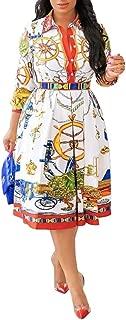 Three-Quarter Sleeve Print Lapel Pullover Women's Day Dress A-Line Pleated Dress Midi Dress