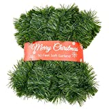 Zhenrui 50 Foot Soft Christmas Garland, Non-lit Christmas Garland Ideal for Indoor and Outdoor Decor, Green Tinsel Garland for Holiday Wedding Party Decoration