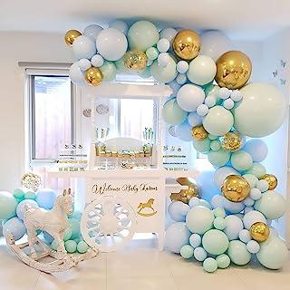 Birthday Party Decorations Balloon Garland – 124 Macaron Latex balloons Blue, Mintcream, Confetti Balloon, Balloon Garland...