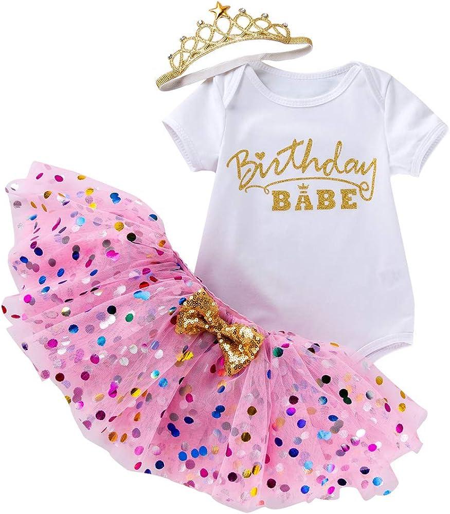 Infant Baby Girls Clothes Birthday Outfits Newborn Onesie Set Romper+Tutu Skirt Dress+Headband 3PCS