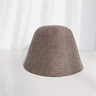SHENTIANWEI Wool Fisherman hat Female Autumn and Winter Korean Tidal Japanese Retro Bell-Shaped Shade pots Cap Covering her face Bucket hat Beggar (Color : Khaki, Size : One Size)