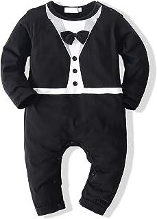 طقم أزياء كيموكات قطعتين للاطفال الصغار من الاولاد والبنات مع قميص بابتسامة + بنطال برسومات مرحة ربطة عنق سوداء 2 0-6 Months
