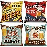 LAXEUYO Juego de 4 Cojin Fundas 45x45 cm, Cerveza Retro Algodón Lino Decorativa Hogar Almohadas Fundas para Sofá Cama Decoración para Hogar