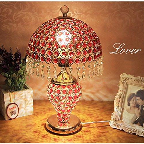 Bonne chose lampe de table Lampe de Table Cristal Européenne, Lampe de Chevet de Chambre, Moderne Simple Salon Décoration Lumière Cadeaux Lampe de Table Nuit Rouge Lumière