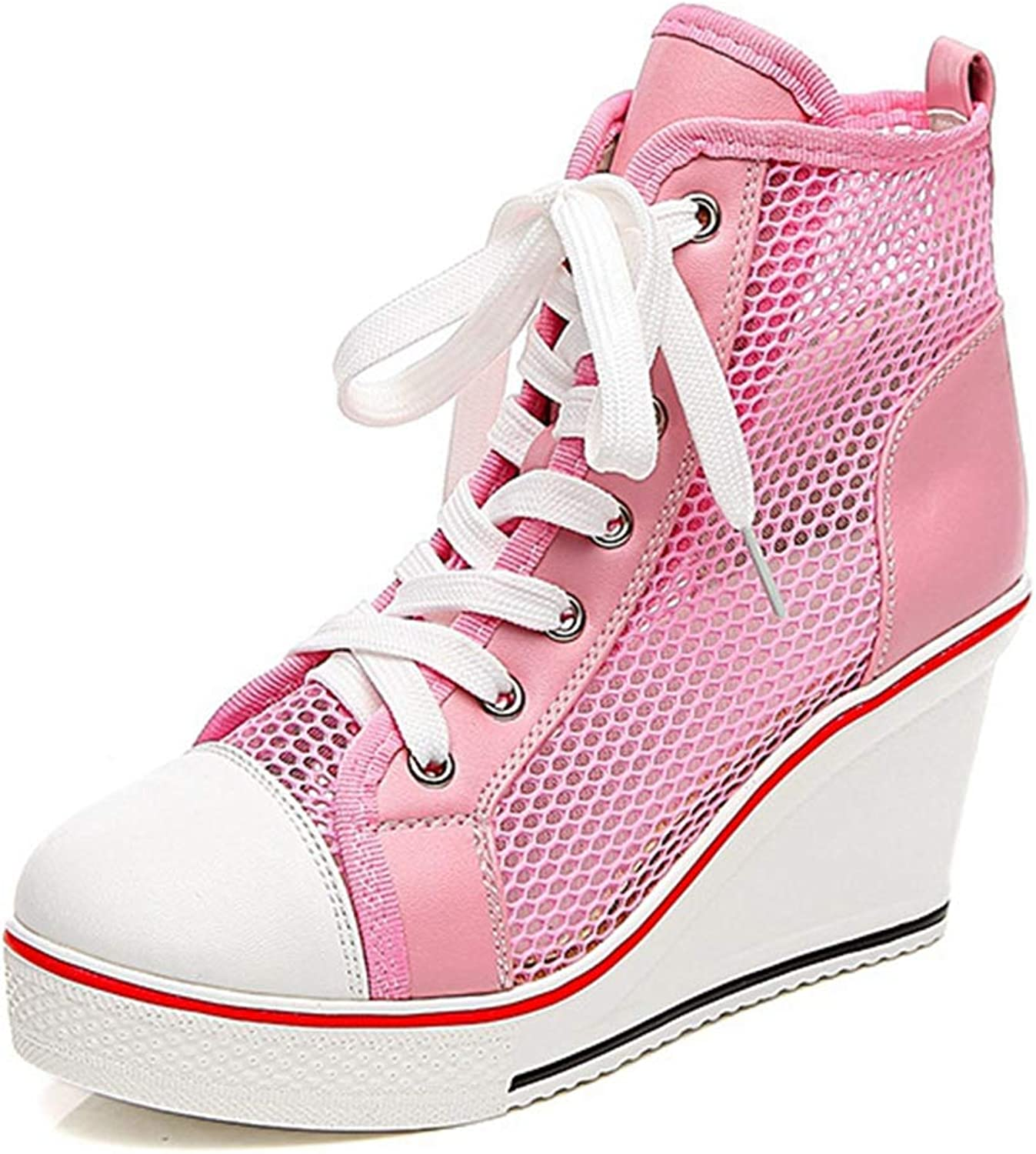 CYBLING Women's High Top Sneakers Fashion Lace Up Wedges Breathable Anti-Slip Rubber Casual shoes