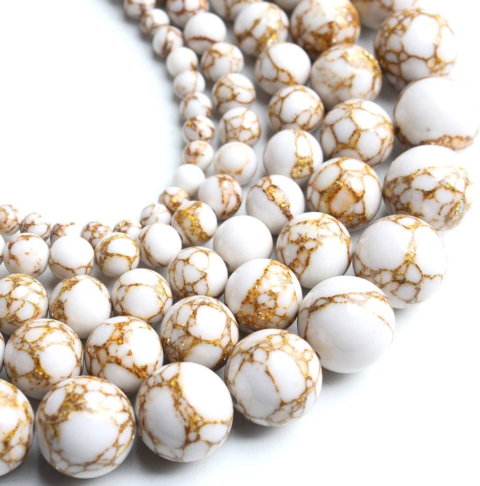 Song latest Xi White Howlite Spun Gold Ranking TOP10 10mm Round Loose Beads for