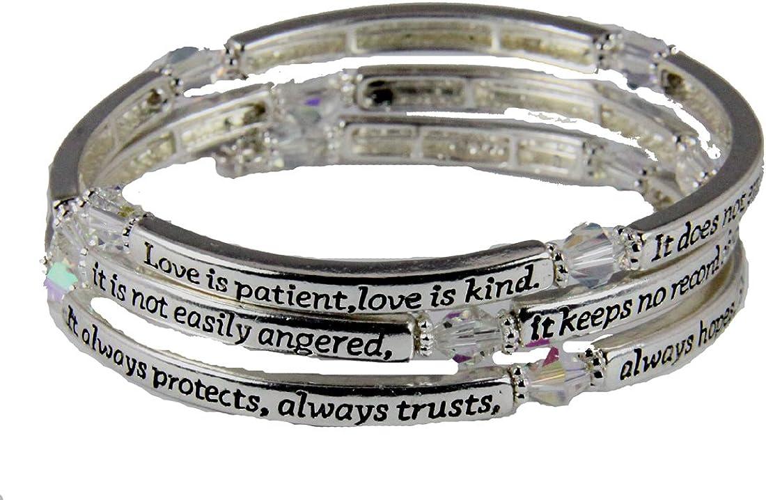 4031295 1st Corinthians 13: 4-7 Love is Coil Wrap Max 83% OFF Rare Bracel Patient