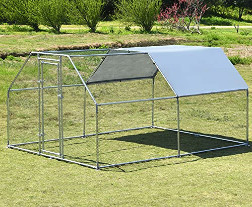 Large Metal Chicken Coop, Hen Run Duck House Outdoor Yard Walk-in Poultry Cage, Rabbits Habitat Cage Spire Shaped Coop with UV & Waterproof Cover for Backyard Farm (9.2'L x 12.5'W x 6.4'H)