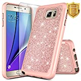 Galaxy Note 5 Case with Screen Protector for Girls Kids Women, NageBee Glitter Sparkle Shiny Bling Shockproof Soft Silicone Hybrid Cover Luxury Cute Case for Samsung Galaxy Note 5 -Rose Gold