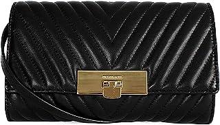 Michael Kors Susannah Quilted Leather Lock Clutch Shoulder Bag Black