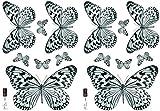 Décoration adhésive 157049 Papillons, Polyvinyle, Noir/Blanc, 21 x 0,1 x 29,6 cm