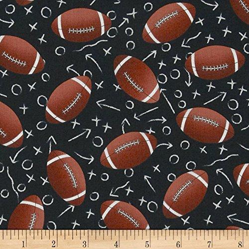Timeless Treasures 'Footballs' Quilt Fabric, Black