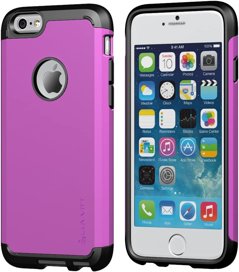 iPhone 6s Plus Case, LUVVITT [Ultra Armor] Shock Absorbing Case Best Heavy Duty Dual Layer Tough Cover for Apple iPhone 6/6s Plus - Black/Purple