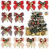 Fiocco di Natale Decorativo, 12 Pezzi di Fiocchi di Fiocco di Natale Vengono Utilizzati per Decorazione di Natale, Fiocchi di Alberi di Natale Possono Aggiungere un'atmosfera Natalizia (3 Stili)