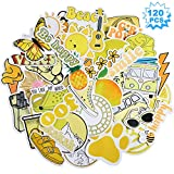 120 Pieces Waterproof Stickers Water Bottle Stickers Yellow Laptop Stickers Aesthetic Vinyl Stickers Girls Teens Graffiti Decals for Water Bottle, Laptop, Phone, Cars, Luggage, Guitar and Skateboard