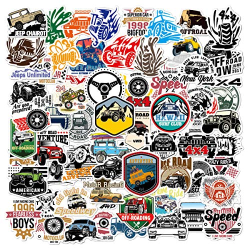 Acekar Jeep Stickers and Dirt Bike Stickers | 65 Pack | Vinyl Waterproof Stickers for Laptop,Skateboard,Water Bottles,Computer,Phone,Car Stickers and Jeep Decals(Jeep-65)