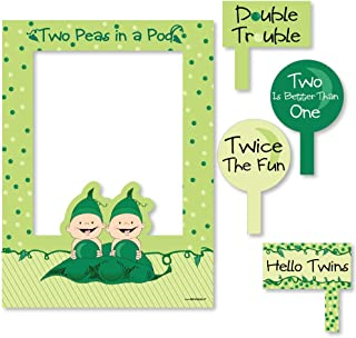 Big Dot of Happiness Twins Two Peas in a Pod - Birthday Party or Baby Shower Selfie Photo Booth Picture Frame and Props - Printed on Sturdy Material