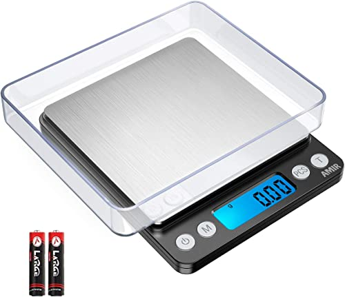 AMIR Digital Kitchen Scale 500g/ 0.01g Pro Cooking scale with Back-Lit LCD Display Accuracy Pocket Food Scale 6 Units...
