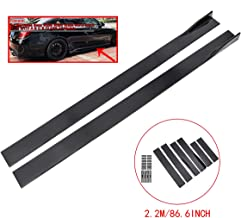 ZEEOS Universal PP Black Side Skirts Extension Rocker Panel Splitter For bmw e46 e90,Chevrolet,GT,etc.Length 2.2M/86.6inch
