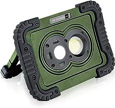 キシマ LED ワークライト 800lm 3段階調整 集光 広範囲 IP65 防水 防塵 電池式 スタンド ハンディ フック 壁 マグネット オリーブ