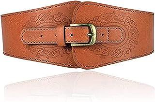 Miss Callory Corset Belt Elastic Stretch Belt Women's Fashion Wide Faux Leather Waist Belt Stretchy Corset Cinch Belt Brow...