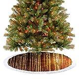 Adorise Faldón para árbol de Navidad, árbol alto, árboles, bosques rojos, adornos de Navidad para casa de campo, chimenea, fiesta, 122 cm