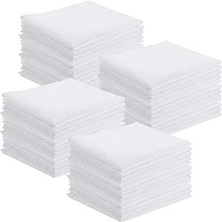 Leinuosen 50 Pack Handkerchiefs Cotton Classic Hankies Pocket Square Towel White for Kids Girl Boy Tea Parties
