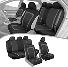 BDK ADV Performance Car Seat Covers - Automotive Interior Protection - PolyCloth Honeycomb Carbon Fiber with Accent Trim (Gray Trim, Seat Covers)