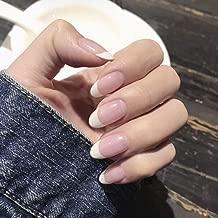 Poliphili 24Pcs French Nude Pink False Nails Press On Salon Acrylic Full Coverage Fake Nails Art Manicure Tips (Round)