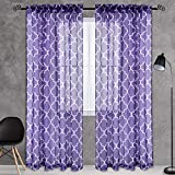 KEQIAOSUOCAI Trellis Purple Sheer Curtains for Bedroom - Rod Pocket Moroccan Tile Print Soft Window Draperies/Drapes/Panels for Nursery (52 Inches Width by 84 Inches Length,Rod Pocket,Set of 2)