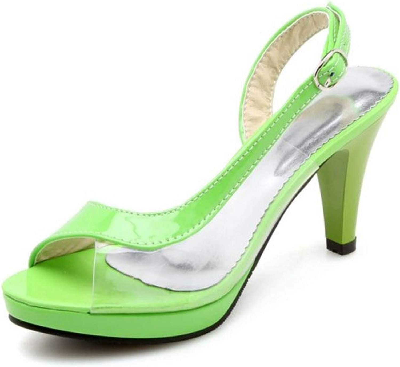 Houfeoans Women High Heel Sandals Peep-Toe Platform Buckle Transparent Women Summer shoes Fashion Footwear