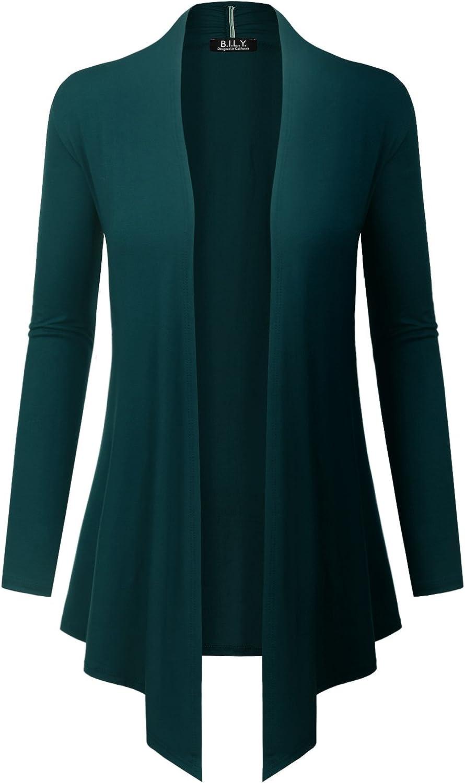 BILY Women's Asymmetrical Front Long Sleeve Front Pockets Light Sweater Cardigan