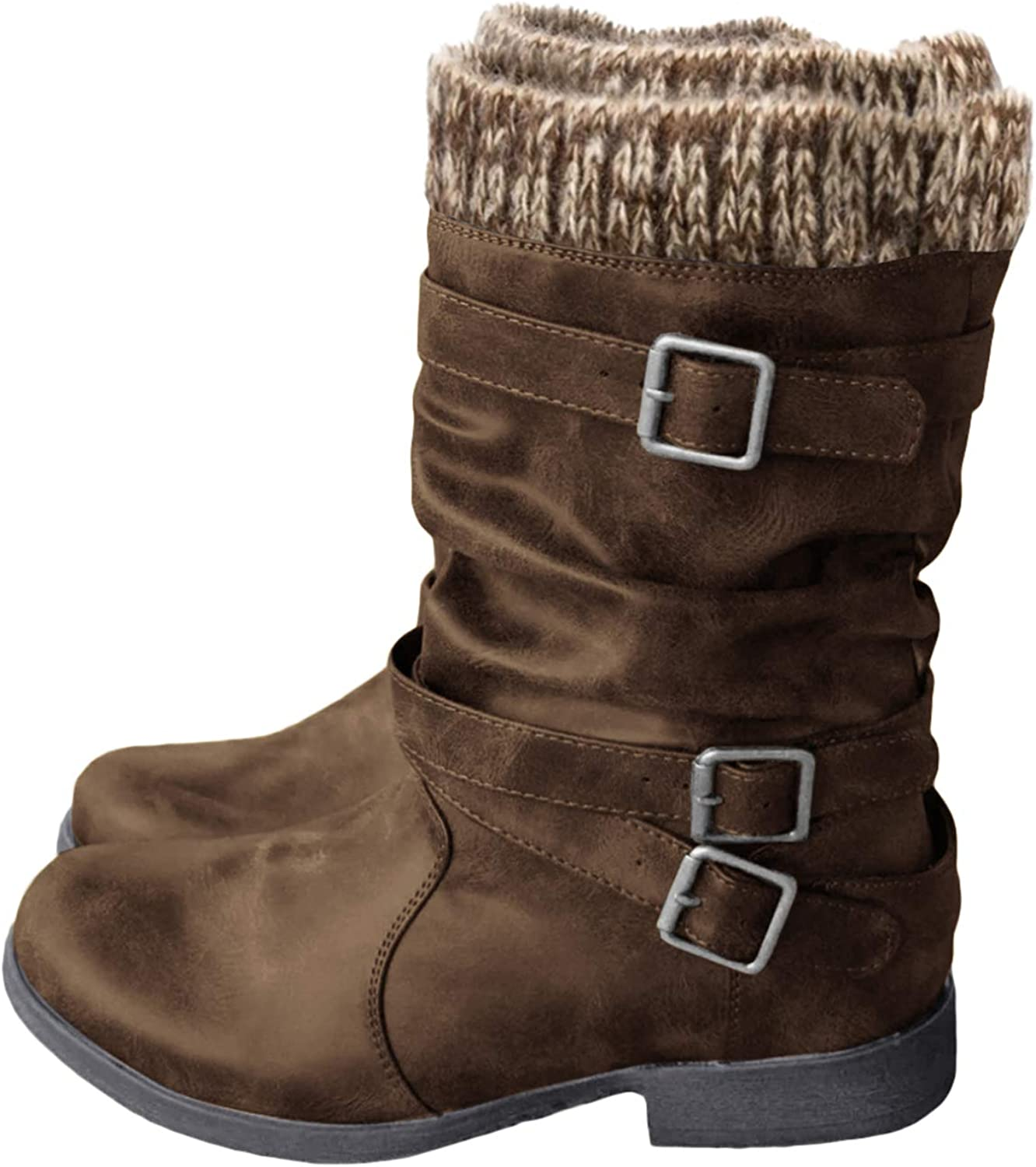 Coutgo Womens Slouchy Mid Calf Boots Winter Flat Low Block Heel Buckle Strap Faux Leather Riding Booties