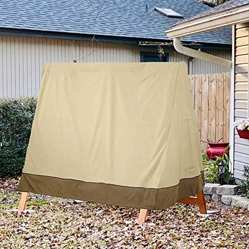 StorMaster A Frame Swing Covers for Outdoor Furniture Waterproof 420D 72 Inch Patio Garden Yard Winter Wooden Swing Cover 3 Seat Beige