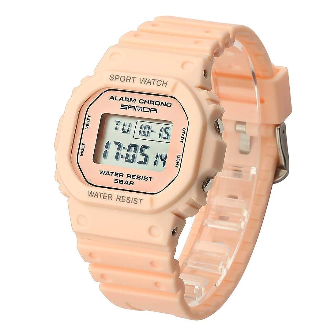 引っ張る住居ファンタジーDhe 腕時計 レディース シンプル ウォッチ 電子デジタル表示 ファッション 夜光ディスプレイ 日付 曜日表示 (ピンク)