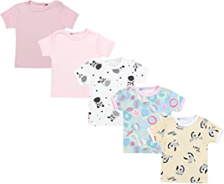 TupTam Camiseta de Bebé para Niña Manga Corta Estampado Colorido Pack de 5