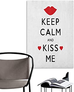 Alexandear Art Decor 3D Wall Mural Wallpaper Stickers Keep Calm Kiss Me Poster Design with Red Hearts and a Kiss Valentines Day Romance Black Red White Art Mural Decals W8 x H10