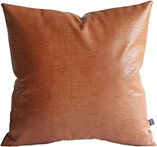 Kdays Faux Leather Crocodile Tan Pillow Cover Throw Pillow Cover Decorative for Couch Cushion Cover 22x22 Inches