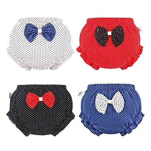 Tancurry Baby Mädchen Klassisch Polka Dots Muster Schlüpfer Unterhose Soft Weich Sommerhosen 4Set, blau rot,schwarz,weiß, 90