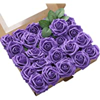 Oara 25pcs Artificial Flower Artificial Rose Flowers Flower Artificial for Wedding DIY Party Home Decorations (Purple)