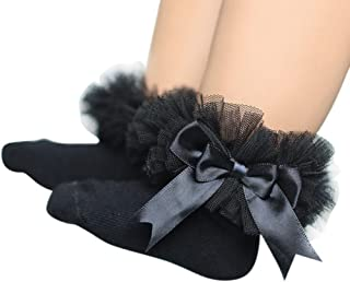 DIGOOD for 0-6 Years Old,Teen Toddler Baby Girls Elegant Bowknot Ruffles Frilly Trim Princess Lace Ankle Socks