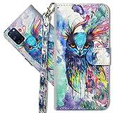 MRSTER Oppo A52 Handytasche, Leder Schutzhülle Brieftasche Hülle Flip Hülle 3D Muster Cover mit Kartenfach Magnet Tasche Handyhüllen für Oppo A52 / A72 / A92. YX Colorful Owl