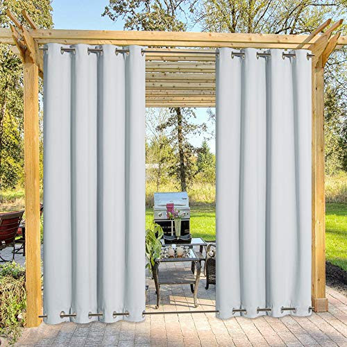 NICETOWN Outdoor Cabana Curtains - Triple Weave Microfiber Room Darkening Windproof Drape(2017 Great idea) with Grommets on Top and Bottom (1 Pack, 52 Inch by 84 Inch, Greyish White)
