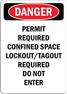 Warning - Permit Required Confined Space Lockout Tagout - Large Metal Aluminum Sign Mark Shopping Mall Industrial Mark 18 x 12 inches.