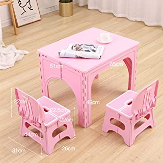 Folding table and chair Baby set  children s household plastic desk  outdoor portable small table  pink