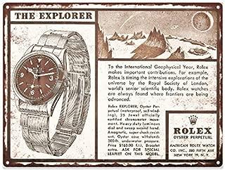 NNHG Tin Sign 8x12 inches 1958 Rolex Explorer Watch Ad Mancave Shop Metal Sign