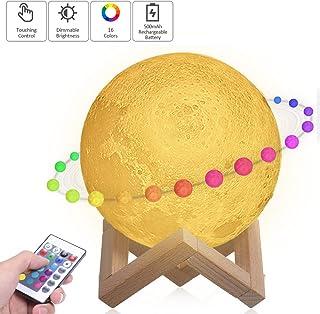 Lámpara Luna 3D,Tomshine 15cm Lámpara Mesilla de Noche,16 Colores y 4 Modos de Iluminación,Brillo Regulable Recargable USB,Control Remoto y Control Táctil,Regalo Navidad para Mujer,Amigas,Niños