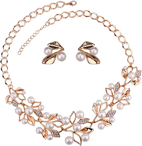 Jewellery Sets For Women Gold Plated Pearl Studded Necklace Jewellery Set With Earrings For Girls Women