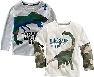 ROWEY Boys 2-Pack Dinosaur Long Sleeve T-Shirt 100% Cotton Toddler Tops Tee
