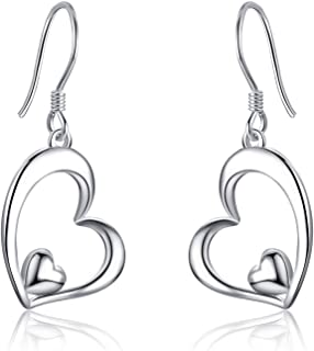 WINNICACA Sterling Silver Heart Dangle Drop Hooks Stud Earrings Heart Jewelry Gifts for Women Birthday